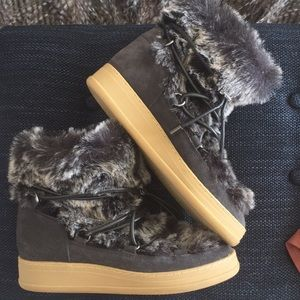 Dolce Vita Wexley Fur Wedge Sneakers